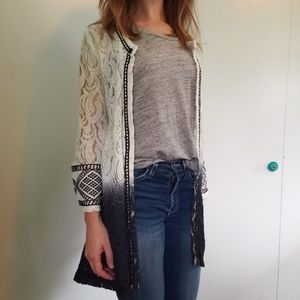 BKE Lace ombre cardigan
